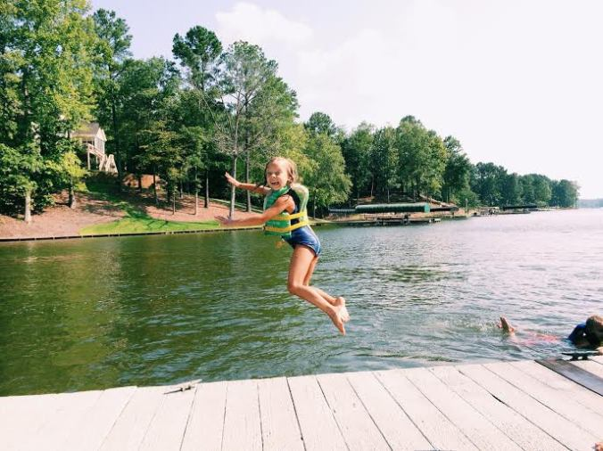 Dock jumping with the cousins.